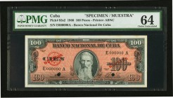 Cuba Banco Nacional de Cuba 100 Pesos 1960 Pick 93s2 Specimen PMG Choice Uncirculated 64. Two POCs.  HID09801242017