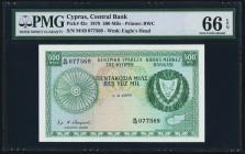 Cyprus Central Bank of Cyprus 500 Mils 1.9.1979 Pick 42c PMG Gem Uncirculated 66 EPQ.   HID09801242017