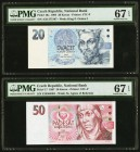 Czech Republic National Bank 20; 50 Korun 1994; 1997 Pick 10a; 17 Two Examples PMG Superb Gem Unc 67 EPQ.   HID09801242017