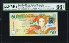 East Caribbean States Central Bank, Grenada 50 Dollars ND (2003) Pick 45g PMG Gem Uncirculated 66 EPQ.   HID09801242017