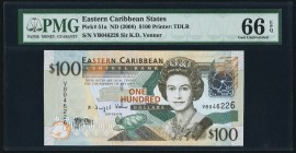 East Caribbean States Central Bank 100 Dollars ND (2008) Pick 51a PMG Gem Uncirculated 66 EPQ.   HID09801242017