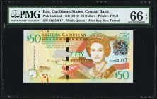 East Caribbean States Central Bank 50 Dollars ND (2016) Pick UNL PMG Gem Uncirculated 66 EPQ.   HID09801242017