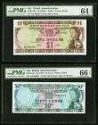Lot Of Four graded Examples From Fiji. Fiji Government of Fiji 1 Dollar; 50 Cents ND (1969); ND (1971) Pick 59a; 64a PMG Choice Uncirculated 64 EPQ; G...