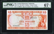 Fiji Central Monetary Authority 5 Dollars ND (1974) Pick 73c PMG Superb Gem Unc 67 EPQ. A spectacular top tear graded example from the always popular ...