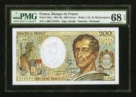 France Banque de France 200 Francs 1982 Pick 155a PMG Superb Gem Unc 68 EPQ.   HID09801242017