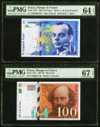 France Banque de France 50; 100 Francs 1993; 1997-98 Pick 157b; 158a Two Examples PMG Choice Uncirculated 64 EPQ; Superb Gem Unc 67 EPQ.   HID09801242...