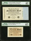 Germany Republic Treasury Note 500; 50,000 Mark 1922; 1923 Pick 74b; 99 Two Examples PMG Superb Gem Unc 67 EPQ (2).   HID09801242017