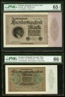 Germany Republic Treasury Note 100,000; 500,000 Mark 1923 Pick 83a; 88b Two Examples PMG Gem Uncirculated 65 EPQ; Gem Uncirculated 66 EPQ.   HID098012...