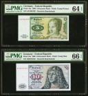 Germany Federal Republic Deutsche Bundesbank 5; 10 Deutsche Mark 2.1.1960 Pick 18a; 19a Two Examples PMG Choice Uncirculated 64 EPQ; Gem Uncirculated ...