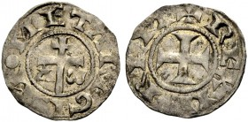 KINGDOM OF JERUSALEM. EARLY ANONYMOUS COINAGE. Denier, mint of Acre. Patriarchal cross between Alpha and Omega, NOMETA REGIS (the N retrograde). Rv. C...