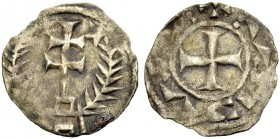 KINGDOM OF JERUSALEM. EARLY ANONYMOUS COINAGE. Denier, royal or patriarchal coinage. Patriarchal cross on pedestal between stars and branches. Rv. Cro...