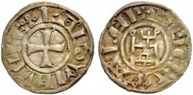 KINGDOM OF JERUSALEM. BALDWIN II, III or IV, 1118-1185. Denier. Cross, BALDVINVS REX Rv. Tower with annulets at the top corners, +DE IERVSALEM Elabora...