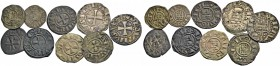 KINGDOM OF JERUSALEM. BALDWIN II, III or IV, 1118-1185. Lot of seven deniers and two oboli. Cross, BALDVINVS REX Rv. The tower of David, +DE IERVSALEM...