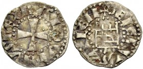 KINGDOM OF JERUSALEM. BALDWIN III 1143-1163. Denier. Cross, BALDVINVS REX Rv. The tower of David, +DE IERVSALEM 0.80 g. Metcalf 151 A, Schlumb. III, 2...