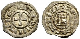 KINGDOM OF JERUSALEM. BALDWIN III 1143-1163. Obole. Cross, +BALDVINVS REX Rv. The tower of David, +DE IERVSALEM 0.33 g. Metcalf 165, Schlumb. III, 24,...
