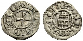 KINGDOM OF JERUSALEM. BALDWIN III 1143-1163. Obole. Cross, +BALDVINVS REX Rv. The tower of David, +DE IERVSALEM 0.45 g. Metcalf 165, Schlumb. III, 24,...