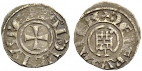 KINGDOM OF JERUSALEM. BALDWIN III 1143-1163. Obole. Cross, +BALDVINVS REX Rv. The tower of David, +DE IERVSALEM 0.54 g. Metcalf 165, Schlumb. III, 24,...