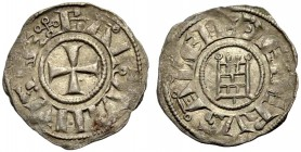 KINGDOM OF JERUSALEM. BALDWIN III 1143-1163. Obole. Cross, +BALDVINVS REX Rv. The tower of David, +DE IERVSALEM 0.43 g. Metcalf 167, Schlumb. III, 24,...