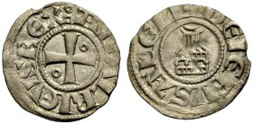 KINGDOM OF JERUSALEM. AMAURY, 1163-1174. Obole. Cross with annulet in second and third quarter, AMALRICVS REX: Rv. Church of the Holy Sepulchre, +DE I...