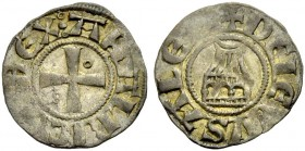 KINGDOM OF JERUSALEM. AMAURY, 1163-1174. Denier. Cross with annulet in second and third quarter, AMALRICVS REX: Rv. Church of the Holy Sepulchre, +DE ...