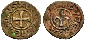 KINGDOM OF JERUSALEM. HENRI DE CHAMPAGNE, 1192-1197. Pougeoise. Cross with an annulet in each quarter, XCOMES HENRICVS Rv. Fleur-de-lis, +PVGES D'ACCO...