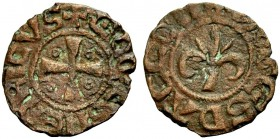 KINGDOM OF JERUSALEM. HENRI DE CHAMPAGNE, 1192-1197. Pougeoise. Cross with an annulet in each quarter, +COMES HENRICVS Rv. Fleur-de-lis, +PVGES D'ACCO...