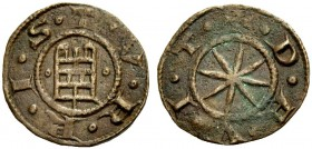 BEIRUT, Lordship. RAYMOND OF TRIPOLI, 1184-1186. Pougeoise. Tower of David between two annulets, T.V.R.R.I.S. Rv. Eight-pointed star, +.D.A.V.I.T. 0.7...