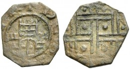 BEIRUT, Lordship. JOHN I OF IBELIN, 1205-1236. Anonymous octagonal copper coin. Tower with gateway, +DE B(ARUT)H Rv. Design of squares and dots. 0.82 ...
