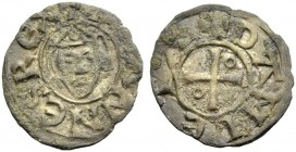 DAMIETTA. JEAN DE BRIENNE, 1219-1221. Denier. Facing head with triangular crown, +IOHANNES REX Rv. Cross with annulet in second and third quarter, +DA...