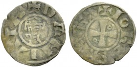 DAMIETTA. JEAN DE BRIENNE, 1219-1221. Denier. Small crowned head, with locks of hair curling inward, +DAMIATA Rv. Cross with annulet in second and thi...
