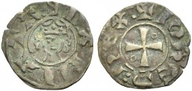 DAMIETTA. JEAN DE BRIENNE, 1219-1221. Denier. Small crowned head, with locks of hair curling inward, +DAMI.ATA Rv. Cross with annulet in second and th...