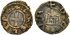 LORDSHIP OF TYRE. PHILIP OF MONTFORT, 1243-1270. Copper coin. Cross, +:PHELIPE: Rv. Temple with four columns and rounded doorway, +DE SVR 1.40 g. Metc...