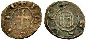 LORDSHIP OF TYRE. JOHN OF MONTFORT, 1270-1283. Copper coin. Cross, +IOH SIRE Rv. Temple with four columns, +DE SVR 1.22 g. Metc. 215, Schlumb. V, 15 v...