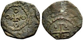 "THE COUNTY OF TRIPOLI. RAYMOND I, 1099-1105, or RAYMOND II, 1137-1152. ""Moneta"" copper. Small cross between four annulets, (RAIMVNDVS COMITI) Rv. Cros..."