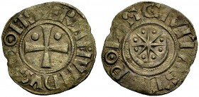 THE COUNTY OF TRIPOLI. RAYMOND II or III, 1137-1152-1187. Denier. Cross with pellet in first and second quarter, +RAMVNDVS COMS Rv. Large crescent wit...