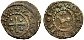 "THE COUNTY OF TRIPOLI. RAYMOND II, 1137-1152. ""Horse and cross"" copper. Cross with one pellet in each quarter, +RAMVN (DVS CO)MS Rv. Agnus Dei, +CIVIT..."