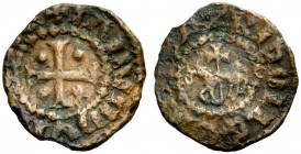 "THE COUNTY OF TRIPOLI. RAYMOND II, 1137-1152. ""Horse and cross"" copper. Cross with one pellet in each quarter, +IAMVNDVS (COMS) Rv. Agnus Dei, CI(VITA..."