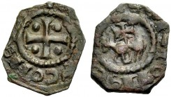 "THE COUNTY OF TRIPOLI. RAYMOND II, 1137-1152. ""Horse and cross"" copper. Cross with one pellet in each quarter, (+RAMVNDVS) COMS Rv. Agnus Dei, CI(VITA..."