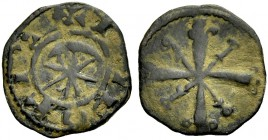 "THE COUNTY OF TRIPOLI. RAYMOND III, 1152-1187. ""Star and crescent"" copper. Crescent and eight-pointed star with pellets between the rays, TRIPOLIS Rv...."