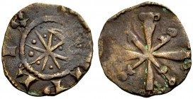 "THE COUNTY OF TRIPOLI. RAYMOND III, 1152-1187. ""Star and crescent"" copper. Crescent and eight-pointed star with pellets between the rays, TRIPLIS (sic..."