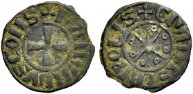 THE COUNTY OF TRIPOLI. RAYMOND III, 1152-1187. Denier. Cross, +BAMVNDVS COMS Rv. Eight-pointed star with annulets between the rays, +CIVITAS TRIPOLIS ...