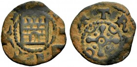 THE COUNTY OF TRIPOLI. BOHEMOND IV, 1187-1233. Castle copper. Gateway with divided door, +CIVITAS Rv. St. Andrew's cross with a crescent in each quart...