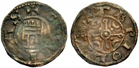 THE COUNTY OF TRIPOLI. BOHEMOND IV, 1187-1233. Castle copper. Gateway with undivided door, +CIVITAS Rv. St. Andew's cross with a crescent in each quar...