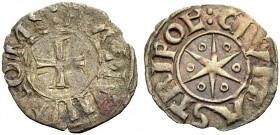 "THE COUNTY OF TRIPOLI. BOHEMOND V, 1233-1251. New style ""star"" denier, after 1230. Cross, :BAMVND' COMS Rv. Six-pointed star with annulets between the..."
