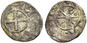 THE COUNTY OF TRIPOLI. BOHEMOND V, 1233-1251. Denier. Cross with three pellets in second quarter, +BA(MVND' COMS) Rv. Eight-pointed star with annulets...