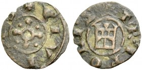 THE COUNTY OF TRIPOLI. BOHEMOND V, 1233-1251. New style castle copper, after 1230. Cross with circle in center and a pellet in each quarter, +CIVITAS ...