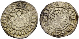 THE COUNTY OF TRIPOLI. BOHEMOND VI., 1251-1275. Half gros. Cross in octafoil pattern, +BOEMVNDVS: COMES Rv. Star in octafoil, CIVITAS TRIPOLI The lett...