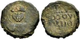THE PRINCIPALITY OF ANTIOCH. TANCRED, 1104-1112. Copper coin type 1. Bust of St. Peter holding cross. Rv. Greek inscription. 3.97 g. Metc. 50, Schlumb...