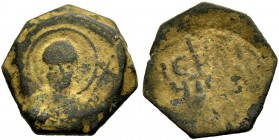 THE PRINCIPALITY OF ANTIOCH. TANCRED, 1104-1112. Copper coin type 1. Bust of St. Peter holding cross. Rv. Greek inscription. 4.68 g. Metc. 50, Schlumb...