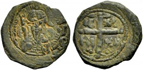 THE PRINCIPALITY OF ANTIOCH. TANCRED, 1104-1112. Copper coin type 2. Bearded bust of Tancred with chain armour and sword. Rv. Cross, in the angles IC ...